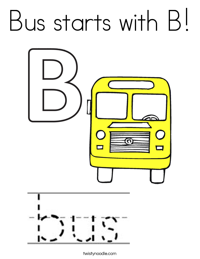 Bus starts with B! Coloring Page