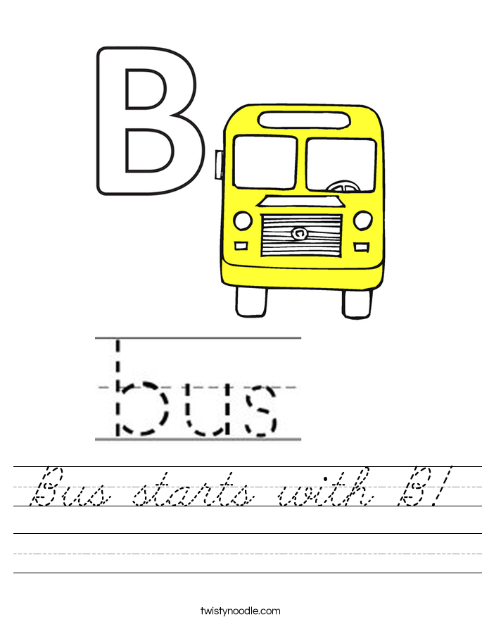 Bus starts with B! Worksheet