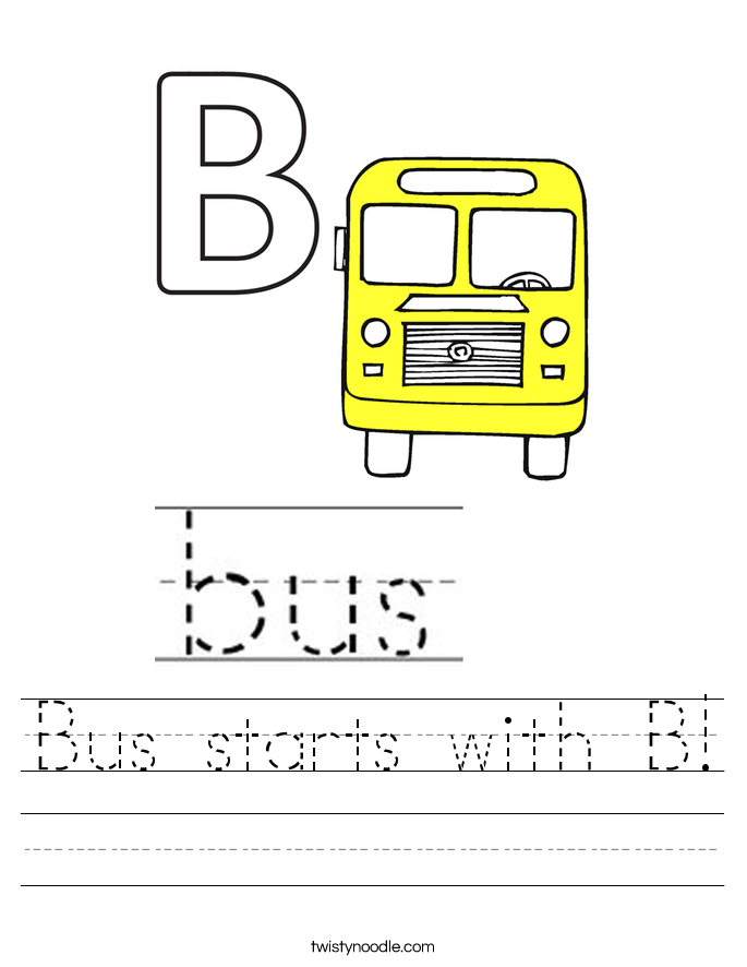 Bus starts with B! Worksheet