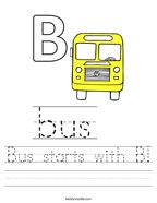 Bus starts with B Handwriting Sheet