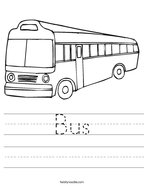 Bus Handwriting Sheet