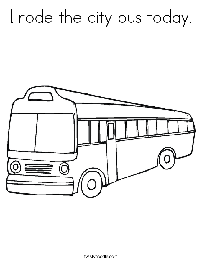 I rode the city bus today. Coloring Page