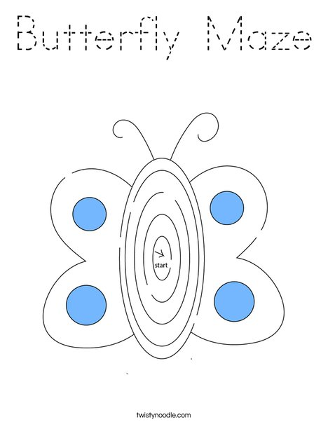 Butterflly Maze Coloring Page