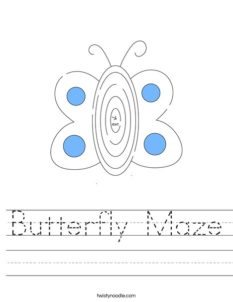 Butterflly Maze Worksheet
