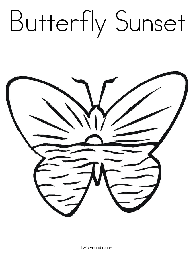Butterfly Sunset Coloring Page - Twisty Noodle