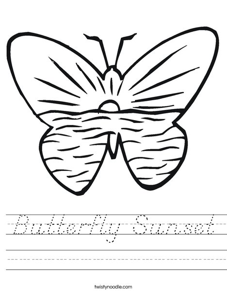 Butterfly with Ocean Worksheet