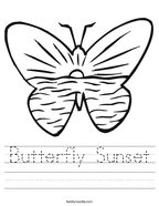 Butterfly Sunset Handwriting Sheet
