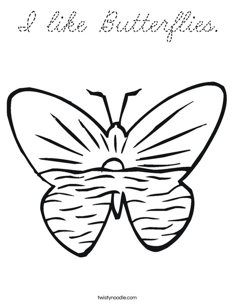 Butterfly with Ocean Coloring Page