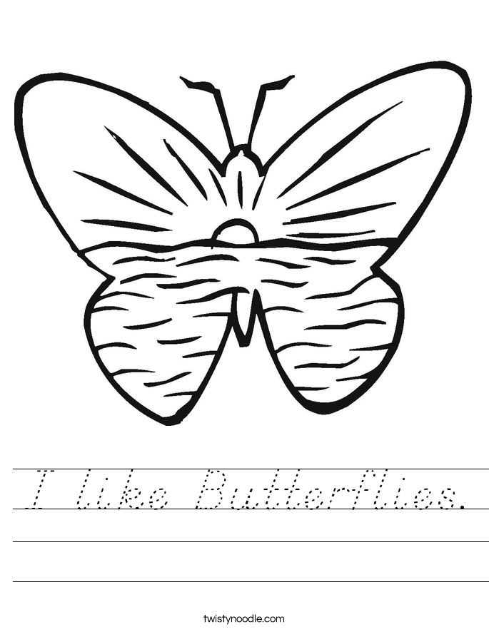 I like Butterflies. Worksheet