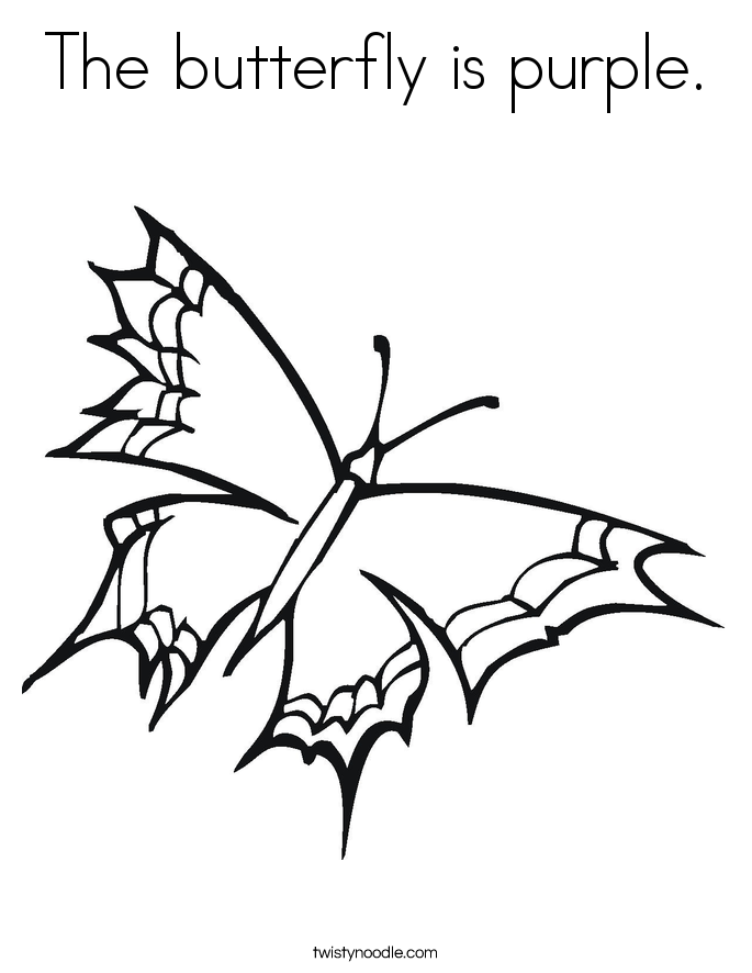 The butterfly is purple. Coloring Page