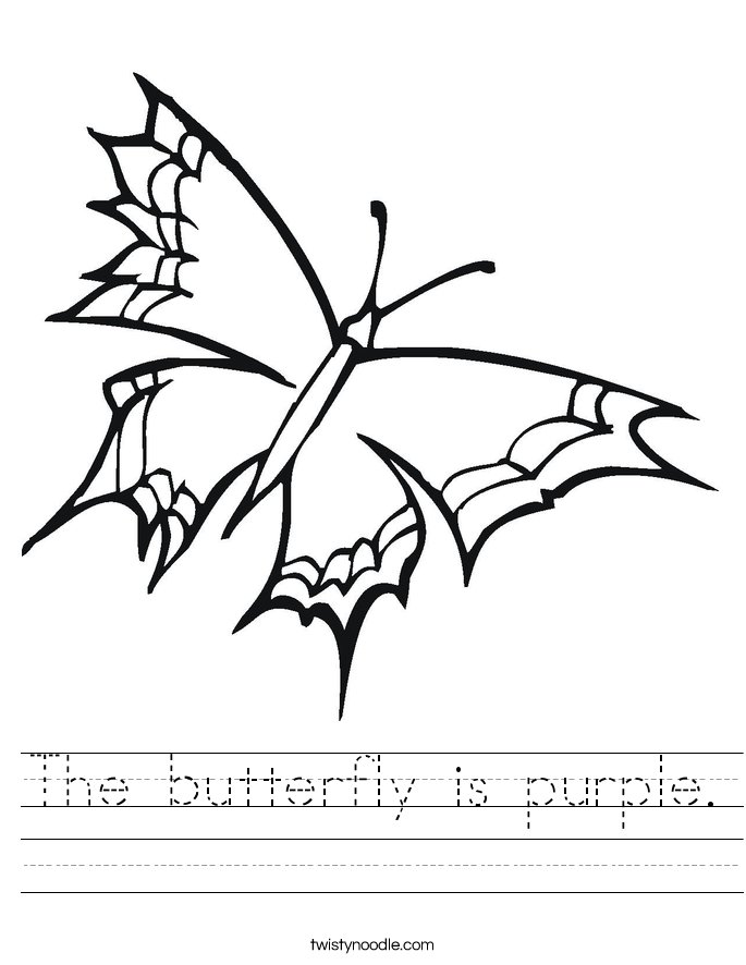 The butterfly is purple. Worksheet