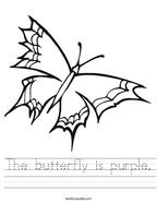 The butterfly is purple Handwriting Sheet