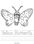 Yellow Butterfly Handwriting Sheet