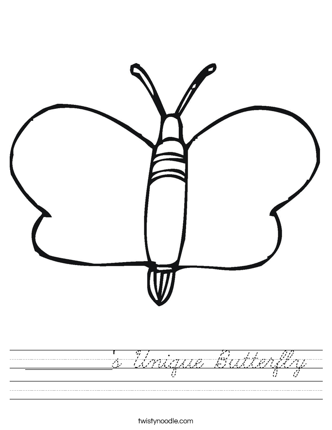 __________'s Unique Butterfly Worksheet