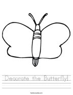 Decorate the Butterfly Handwriting Sheet