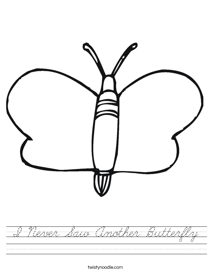I Never Saw Another Butterfly Worksheet
