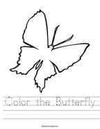 Color the Butterfly Handwriting Sheet