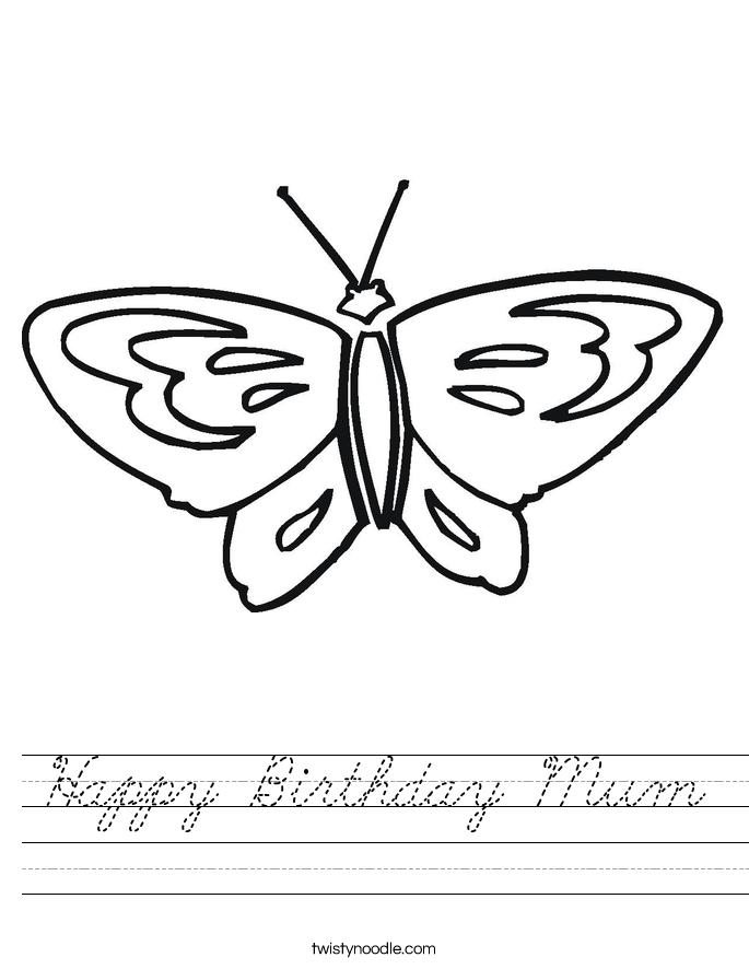 Happy Birthday Mum Worksheet