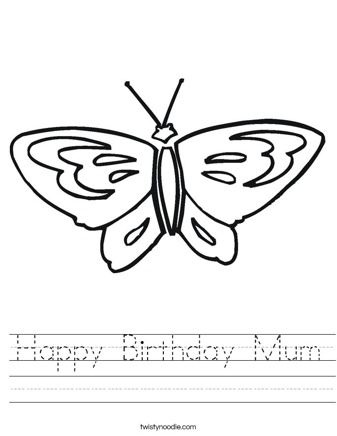 Happy Birthday Mum Worksheet