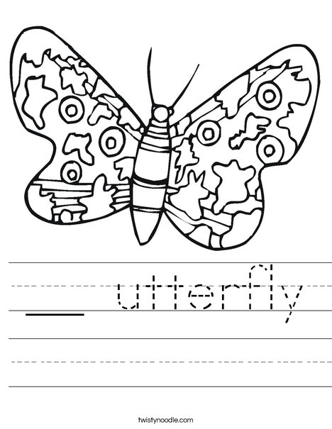 Colorful Butterfly Worksheet