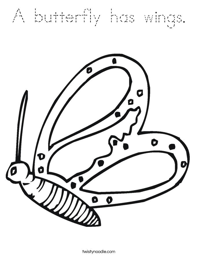 A butterfly has wings. Coloring Page