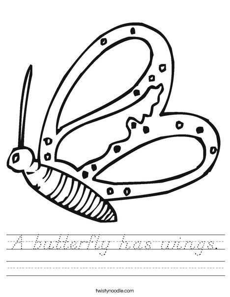 Flying Butterfly Worksheet