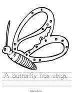 A butterfly has wings Handwriting Sheet