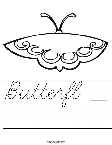 Pink Butterfly Worksheet