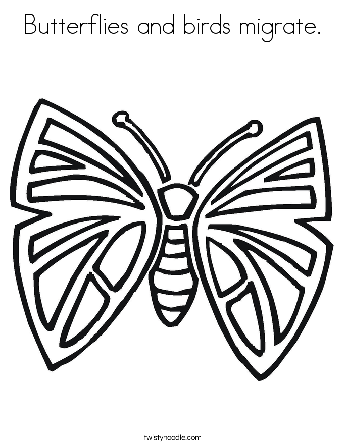 Butterflies and birds migrate. Coloring Page