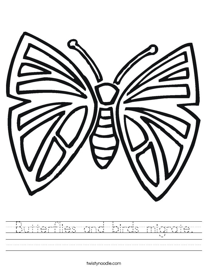 Butterflies and birds migrate. Worksheet