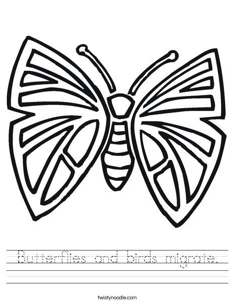 Pretty Butterfly Worksheet