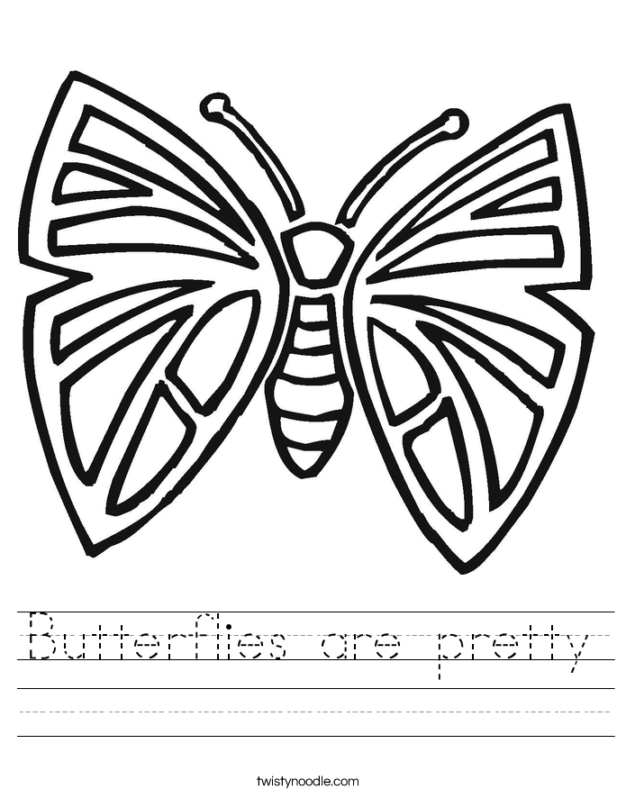 Butterflies are pretty Worksheet