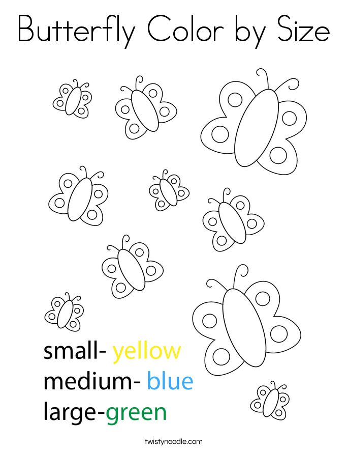 Butterfly Color by Size Coloring Page
