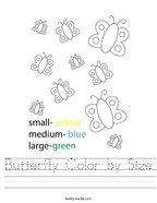 Butterfly Color by Size Handwriting Sheet