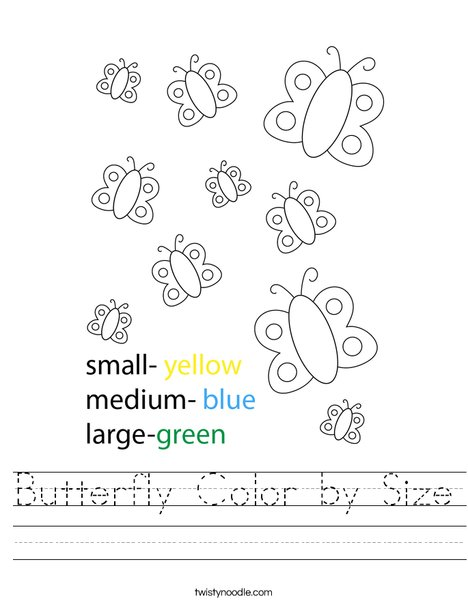 Butterfly Color by Size Worksheet