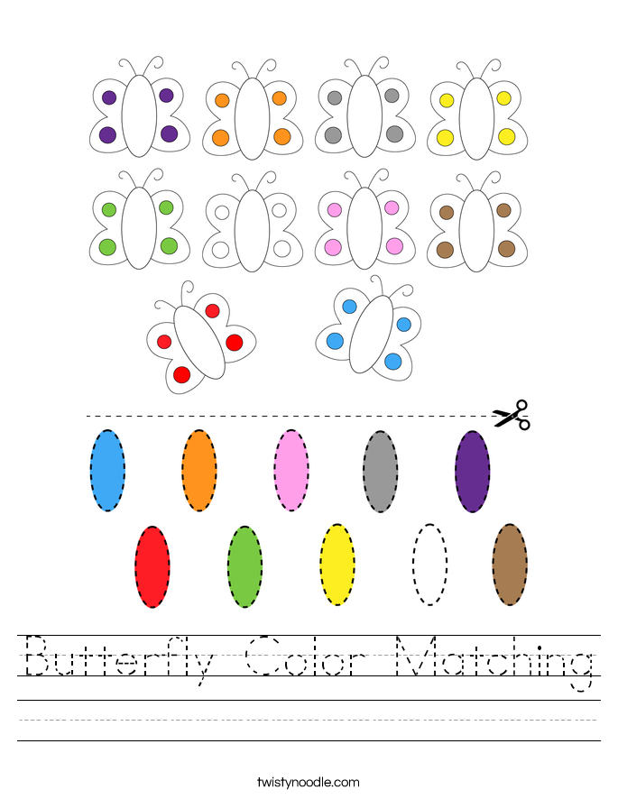 Butterfly Color Matching Worksheet