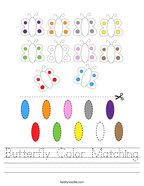 Butterfly Color Matching Handwriting Sheet