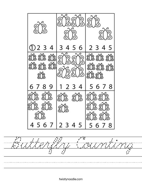 Butterfly Counting Worksheet