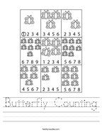Butterfly Counting Handwriting Sheet