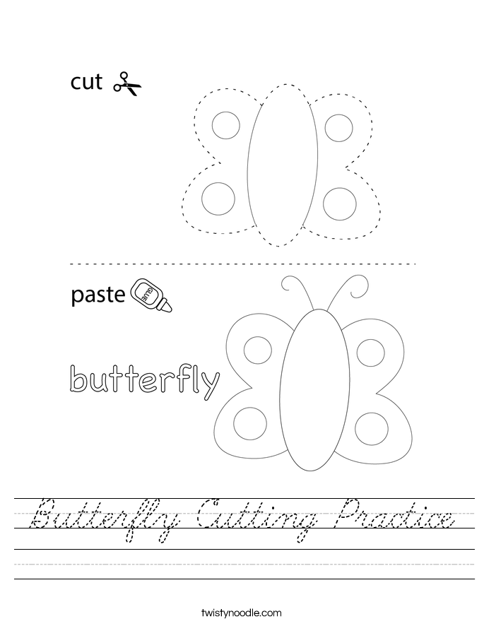 Butterfly Cutting Practice Worksheet