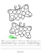 Butterfly Dot Painting Handwriting Sheet