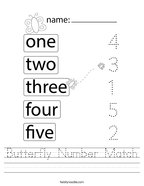 Butterfly Number Match Handwriting Sheet