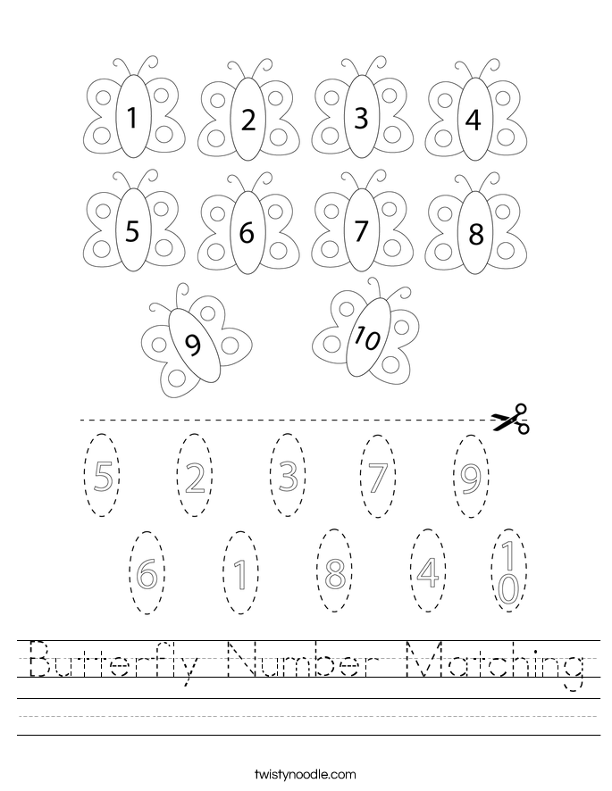 Butterfly Number Matching Worksheet