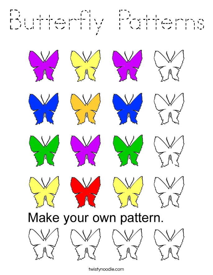 Butterfly Patterns Coloring Page - Tracing - Twisty Noodle