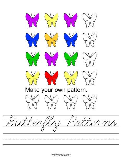Butterfly Patterns Worksheet
