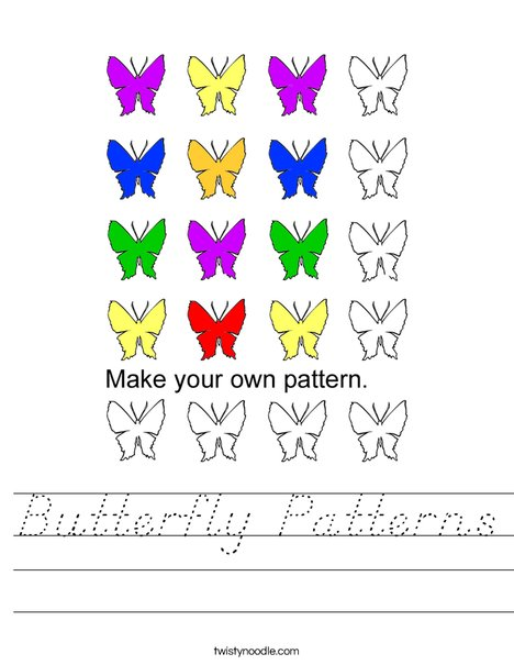 Butterfly Patterns Worksheet