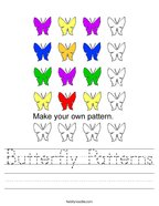 Butterfly Patterns Handwriting Sheet