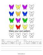Butterfly Patterns Handwriting Sheet
