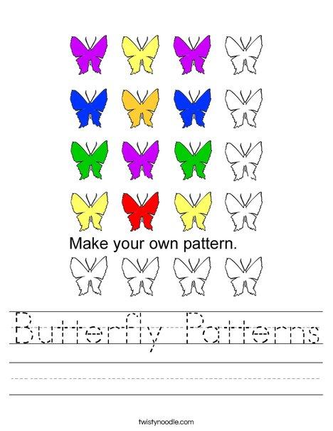 Butterfly Patterns Worksheet - Twisty Noodle