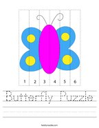 Butterfly Puzzle Handwriting Sheet